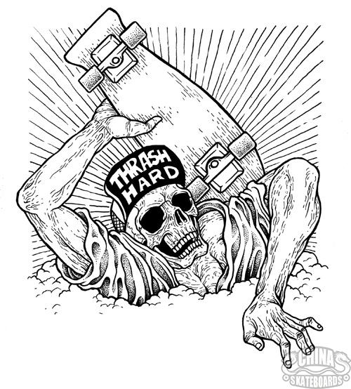 人们喜欢纹骷髅滑手 只要有滑板 世界上任何东西都杀不死我-滑板纹身