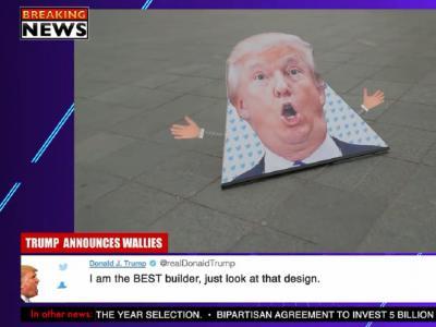 荷兰滑手讽刺特朗普之作:别建Wall了,一起来Wallie吧!