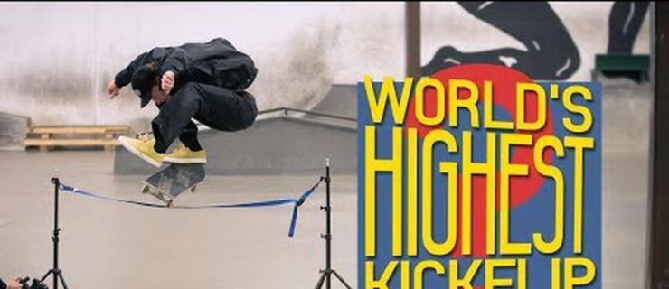 Ollie跳高世界纪录保持者挑战最高的Kickflip记录!